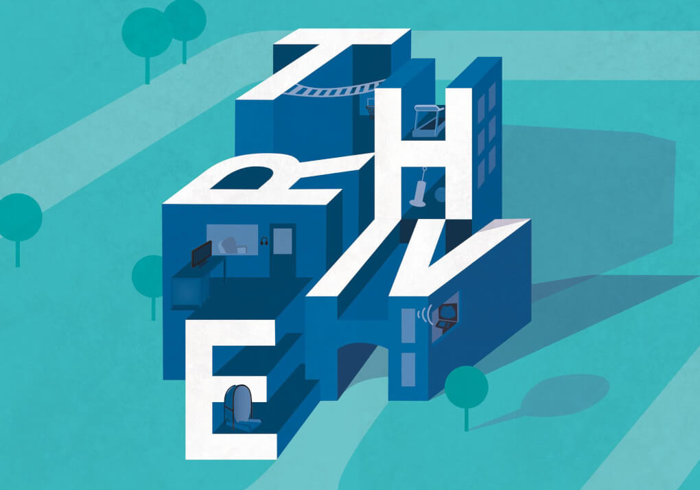 The word 'thrive' illustrated as a 3-D building. The unique labs in Finkelstein hall are represented through small illustrations inside the letters.
